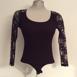 ⭐Bebe Black Long-Sleeve Bodysuit with Lace